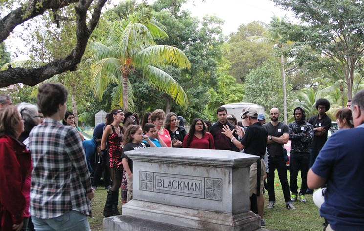 HistoryMiami's Ghosts of Miami City Cemetery tour with Dr. Paul George. - PHOTO BY ALI GOEBEL