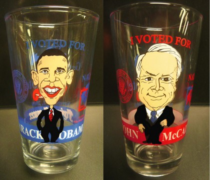 2008 Vote Glasses featuring Obama or McCain