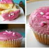 Lemon curd cupcakes with raspberry mascarpone frosting