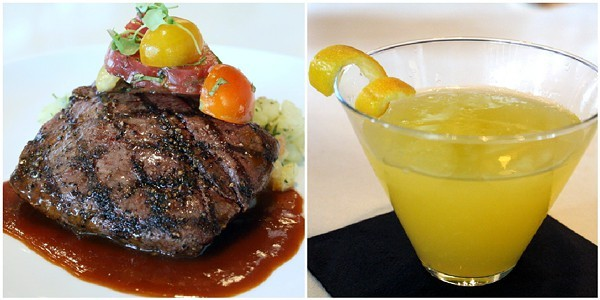 5 Churchs American Kobe Flatiron Steak and Blue Moon Martini