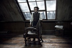 LEAH GALLO / DREAMWORKS & WARNER - A DOOM WITH A VIEW: Johnny Depp in Sweeney Todd: The Demon Barber of Fleet Street.