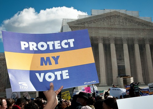 A February rally in front of the Supreme Court as justices heard Voting Rights Act cases