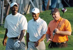 JOHN D. SIMMONS/CHARLOTTE OBSERVER/MCT - A GREAT DAY IN N.C.: Michael Jordan (left), Tiger Woods and William 'Skipper' Beck at the 2007 Wachovia Championship.