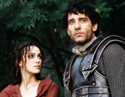 JONATHAN HESSION / BUENA VISTA - A KNIGHT TO DISMEMBER The legend gets uprooted - in King Arthur, starring Keira Knightley as - Guinevere and Clive Owen as Arthur