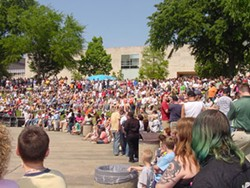 COURTESY Q-NOTES - A large crowd of celebrants gathered for 2005's Gay Pride festival in Marshall Park