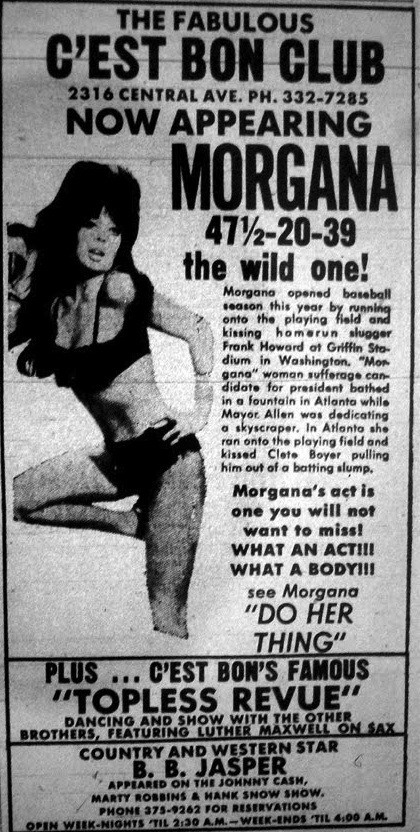 A late 1960s ad touting Morgannas appearance at the Cest Bon Club