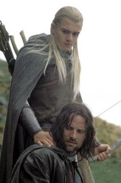 PIERRE VINET / NEW LINE - A RINGING ENDORSEMENT The Lord of the Rings: - The Return of the King, with Orlando Bloom and Viggo - Mortensen, led all films with 11 Oscar bids