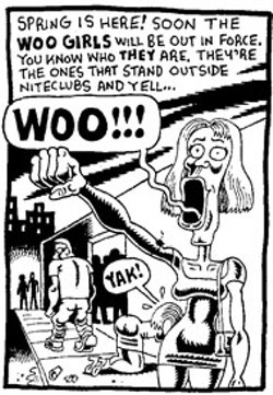 "DERF - A stereotypical ""Woo Girl"" from The City comic - strip"