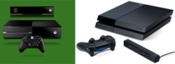XBOX: MICROSOFT; PS4: SONY - A TALE OF TWO SYSTEMS: Both the Xbox One (top) and Playstation 4 will be released at year's end.