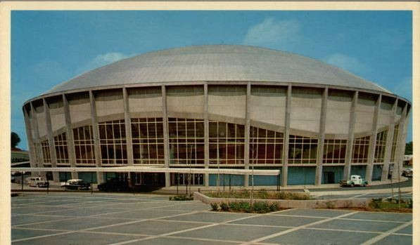A vintage postcard describes the Charlotte Coliseum, now Bojangles Coliseum, as futuristic and spacious.