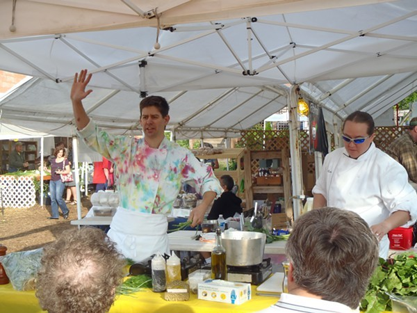 Adam Reed of Santé and his then-sous-chef Terra Ciotta host a cooking demonstration.