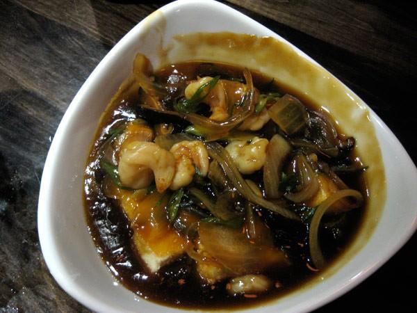 AGE DASHI TOFU WITH SHRIMP - Lightly Fried Tofu with Shitake Mushroom, Shrimp in Dashi Sauce