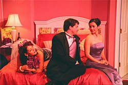 MARILYN FRENKEL / BAREBONES THEATRE GROUP - AN ASSEMBLY OF RESENTMENT: Donna Scott, Alan Martin and Stacey Aswad in Five Women Wearing the Same Dress