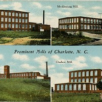 An early 20th century postcard that depicts Charlottes's textile industry.