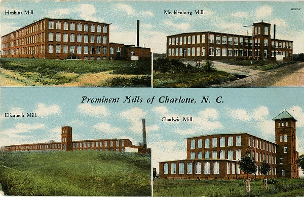 An early 20th century postcard that depicts Charlottess textile industry.
