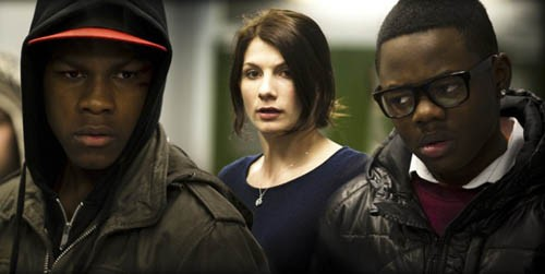 ANARCHY IN THE U.K.: Moses (John Boyega), Sam (Jodie Whittaker) and Jerome (Leeon Jones) confront an alien invasion in Attack the Block. (Matt NettHeim / Screen Gems)