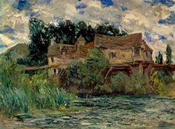 CLAUDE MONET. FRENCH, 1840--1926 HOUSES ON THE OLD BRIDGE AT VERNON, CIRCA 1883 OIL ON CANVAS PROMISED AND PARTIAL GIFT OF MRS. JOHN N. WEINSTOCK IN MEMORY OF MR. AND MRS. B. BERNARD KREISLER