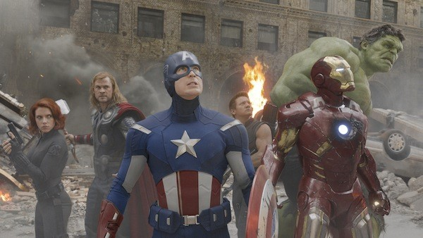 ASSEMBLED: The Black Widow (Scarlett Johansson), Thor (Chris Hemsworth), Captain America (Chris Evans), Hawkeye (Jeremy Renner), Iron Man (Robert Downey Jr.) and the Hulk (Mark Ruffalo, sort of) prepare to do battle in The Avengers. (Photo by Disney & Marvel)