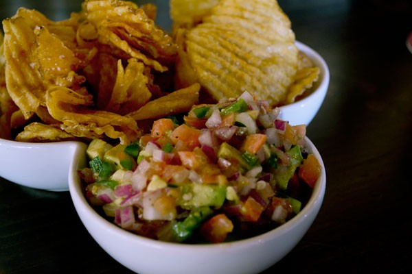 Avocado salsa and homemade chips