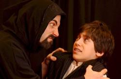 DONNA BISE - BARD TIMES: Falconer (Mark Sutton) threatening Widge (Stephen Friedrich) in CT's The Shakespeare Stealer.