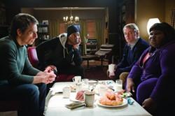 UNIVERSAL - Ben Stiller, Eddie Murphy, Matthew Broderick and Gabourey Sidibe in Tower Heist