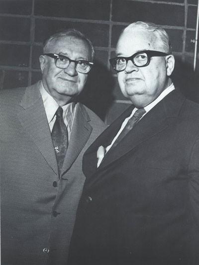 Big Jim Crockett (right) with former NWA president Sam Muchnick, 1973. - WWW.MIDATLANTICGATEWAY.COM