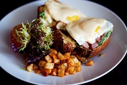 BLT STEAK CHARLOTTE - BLT Popover with ham, eggs, bacon, spinach and hollandaise