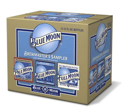 Blue Moon Variety Pack - Who really wants another pair of socks or mittens? - Give a gift of cheer with beer! Pick up the NEW- - Blue Moon Variety Pack at your local grocery store, including Blue Moon Belgian White, Blue Moon Full Moon and Blue Moon Pale Moon. - Available from area retailers.