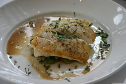 SHAWN SPOHN - Blue Restaurant offers a nutritious seared Mediterranean sea bass with wilted spinach and whole wheat orzo