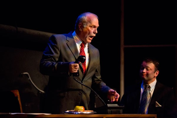 Bob Paolino as Roy Cohn (left) and Will Triplett as Joe Pitt