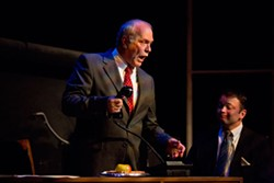 PHOTOS BY MERT JONES - Bob Paolino as Roy Cohn (left) and Will Triplett as Joe Pitt
