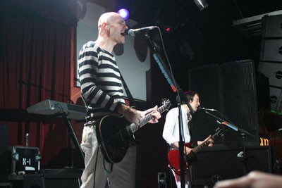BOLDLY BALD: Singer Billy Corgan rocks his way through a nearly three-hour set on June 23 at The Orange Peel in Asheville. The Smashing Pumpkins is in the middle of a nine-night residency at the venue on the way to releasing their latest album, Zeitgeist, on July 10. - JEFF HAHNE
