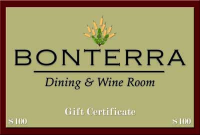 Bonterra Dining & Wine Room - Located in the heart of Dilworth, featuring contemporary American cuisine. Over 200 wines by the glass and an additional 300 from the wine cellar. - 1829 Cleveland Ave. 704-333-WINE - Open Monday-Saturday, - bar at 4:30 p.m., restaurant 5:30 p.m. - Gift certificates can be purchased online, - in person or over the phone. - www.BonterraDining.com - Credit cards accepted