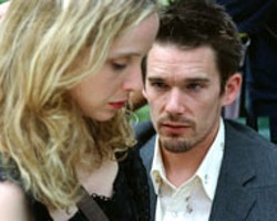 WARNER INDEPENDENT PICTURES - BRIEF RE-ENCOUNTER Jesse (Ethan Hawke) and - Celine (Julie Delpy) meet again in Before - Sunset