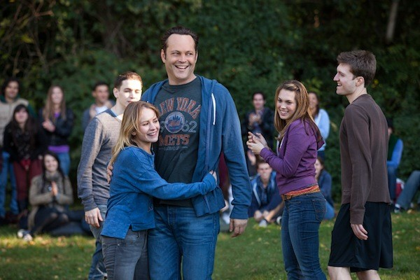 Britt Robertson (hugging) and Vince Vaughn in Delivery Man. (Photo: DreamWorks)