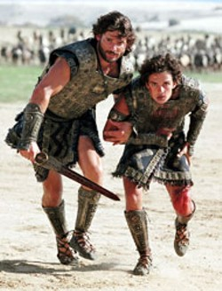 FRANK MASI / WARNER - BROTHERS IN ARMS Siblings Hector (Eric Bana) and - Paris (Orlando Bloom) in Troy