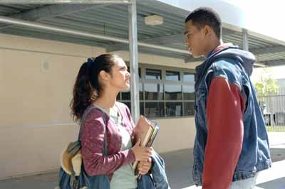 BUDDING ROMANCE: Jasira (Summer Bishil) and Thomas (Eugene Jones) get acquainted in Towelhead.