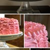 A ribbon-frosted chocolate cake