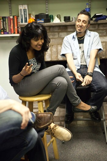Charlotte Storytellers co-founder Ramya Mahalingam and Eraklis Petmezas, a new member