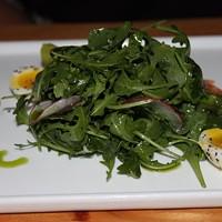 CHILLED ASPARAGUS with soft boiled quail eggs, arugula, house-cured lox, radish