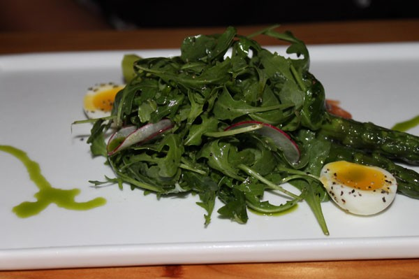 CHILLED ASPARAGUS with soft boiled quail eggs, arugula, house-cured lox, radish