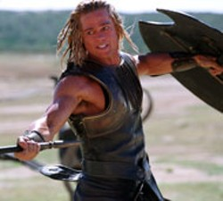 WARNER BROS - CLASH OF THE TITANS A battle royal between - opposing heroes Achilles (Brad Pitt) and Hector (Eric - Bana, Below) is inevitable in Troy