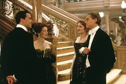 PARAMOUNT - CLASS ACT: Struggling artist Jack (Leonardo DiCaprio, right) prepares to break bread with upper-class denizens Cal (Billy Zane), Ruth (Frances Fisher) and Rose (Kate Winslet) in Titanic.