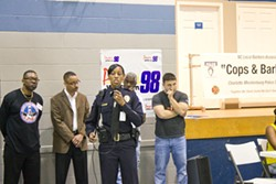 PHOTOS BY SARA WORKMAN - CMPD and the local chapter of the N.C. Barbers Association hosted a town hall meeting at Naomi Drenan Recreation Center on March 8.
