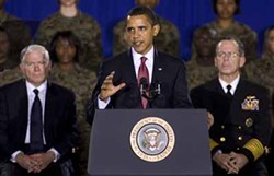 2009 OWEN DB/BLACK STAR - COMMANDER IN CHIEF: President Obama addresses Marines at Camp Lejeune, N.C. Feb. 27, 2009.