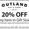 Coupon from Outland Gift & Cigar