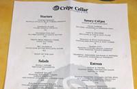 Crépe Cellar's menu