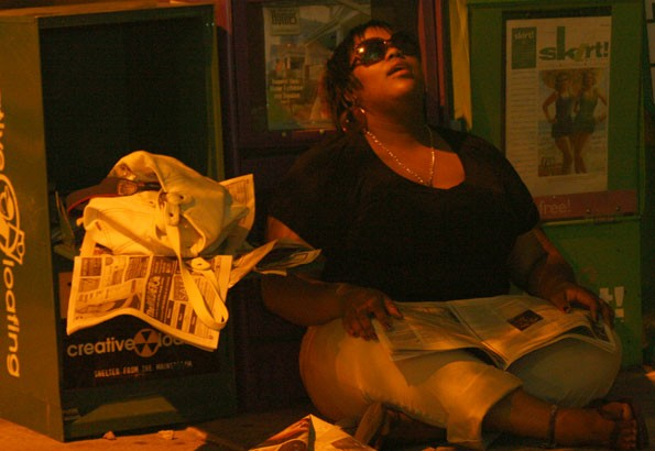 CREATIVELY LOAFING: An unnamed downtown dweller takes a disco nap - KATIE WILLIAMS