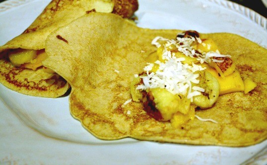 Crêpes with Banana, Mango, and Coconut