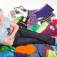 Dan Mauney with his sexy new merchandise
